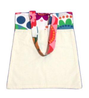 Bolsa para zafu bicolor con asas floreadas