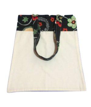 Bolsa para zafu bicolor con asas negra con flores