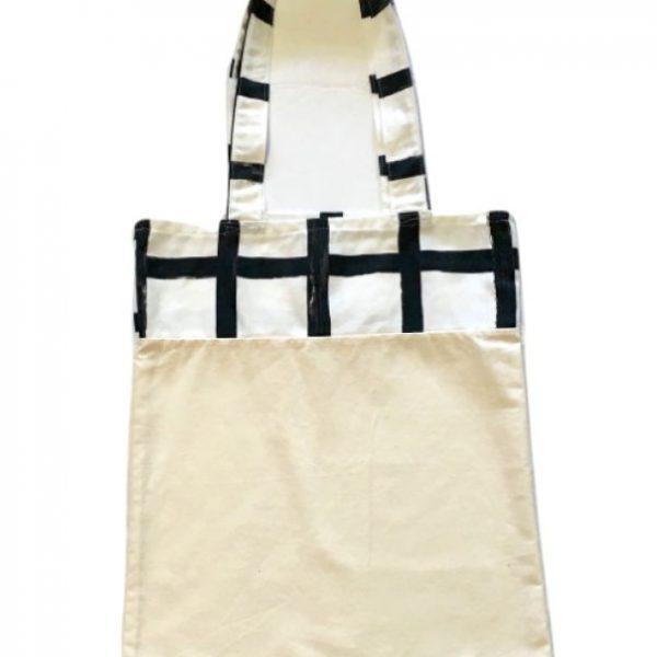 Bolsa para zafú bicolor con asas blancas y líneas en negro