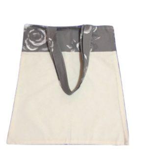 Bolsa para zafu bicolor con asas grises y flores blancas