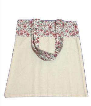 Bolsa para zafu bicolor con asas de florecitas rojas