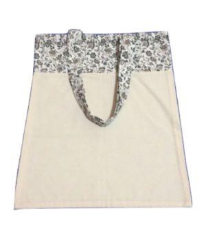 Bolsa para zafu bicolor con asas blancas y frorecitas azules