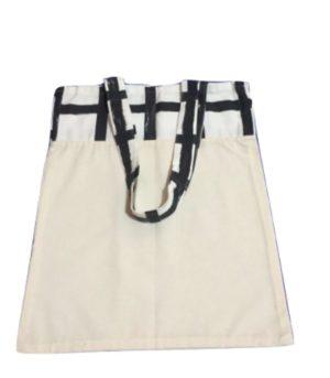 Bolsa para zafu bicolor con asas blancas y líneas