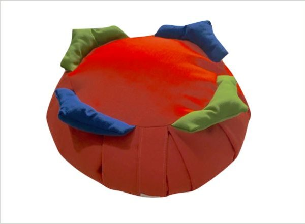 Zafú para niños rojo con 4 picos verdes y azules