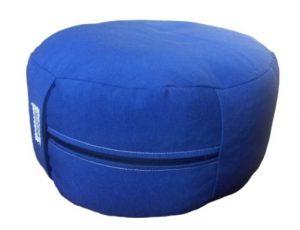 Zafu Eco Espelta con forma redonda azul