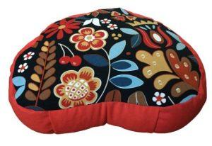 Zafu Eco Espelta rojo y corazon negro con flores