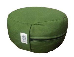 Zafu Eco Espelta con forma redonda verde