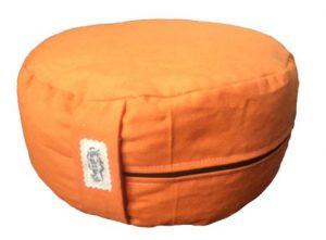 Zafu Eco Espelta con forma redonda naranja