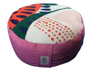 Zafu redondo rosa con dibujos de colores