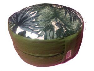 Zafu Eco Espelta redondo verde con dibujos de palmeras