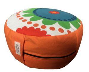 Zafu Eco Espelta redondo naranja y flores de colores