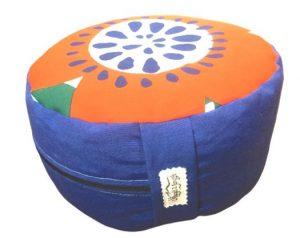 Zafu Eco Espelta redondo azul con dibujos de colores