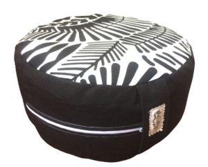 Zafu Eco Espelta con forma redonda negro y blanco
